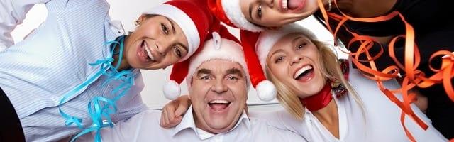 team celebrating Christmas together